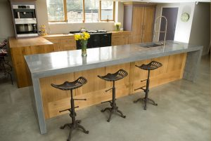 Polished concrete floor in tradiitional kitchen